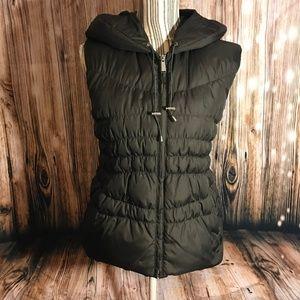 Michael Kors Brown hooded zippered vest SZ M EUC